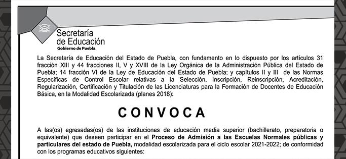 Convocatoria SEP 2021 2022 Escuelas Normales